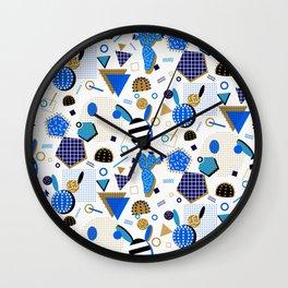 Cobalt Blue Cactus Memphis Style Wall Clock
