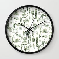 wallpaper Wall Clocks featuring Wallpaper by Bridie Cheeseman