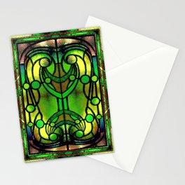 Green and Gold Stained Glass Victorian Design Stationery Cards