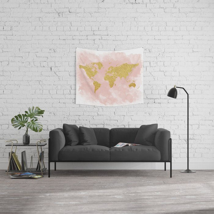 Gold Glitter Map, Nursery Art, Pink Gold, Pastels Wall Tapestry