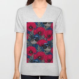 Fairy wren and poppies Unisex V-Neck