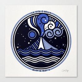 La Vita è Bella – Mediterranean Volcano in Blue Palette Canvas Print
