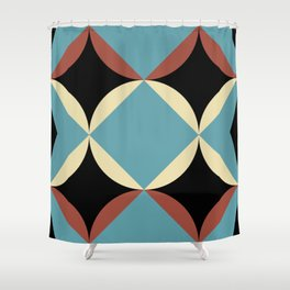 Frontal Fishes with squared blue mouths in a black deep sea. Shower Curtain