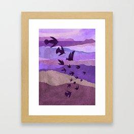 Purple Mountains Birds Take Flight Framed Art Print