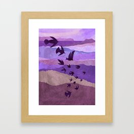 Purple Mountains Birds Take Flight Framed Art Print