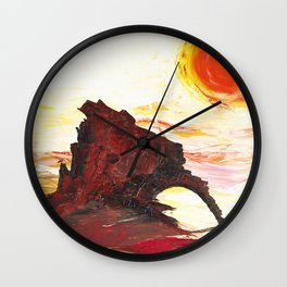 Landscape painting- The Indian - by LiliFlore Wall Clock