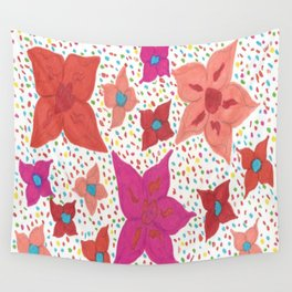 Pink and Orange Floral and Polka Dots Wall Tapestry
