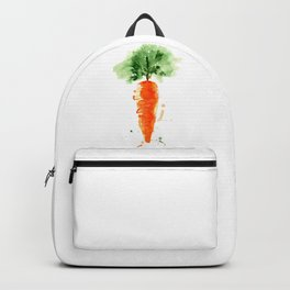 Watercolor orange carrot. Organic vegetable. Original watercolour illustration. Backpack