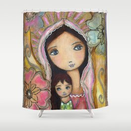 Young Madonna with Child and Flowers by Flor Larios Shower Curtain