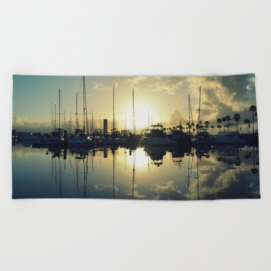 marina morning Beach Towel