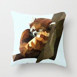 Red Panda Poly Throw Pillow