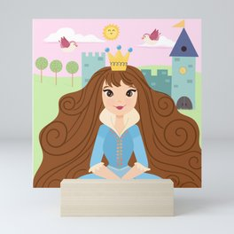 Fairy Tale Princess With Her Story Book Castle - Blue Dress Mini Art Print