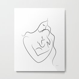 Mother with baby drawing. Minimalist line art print. Metal Print