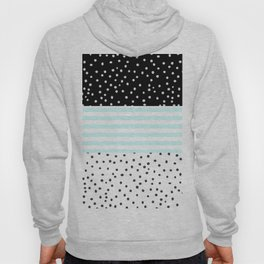 Modern black white teal stripes watercolor polka dots Hoody