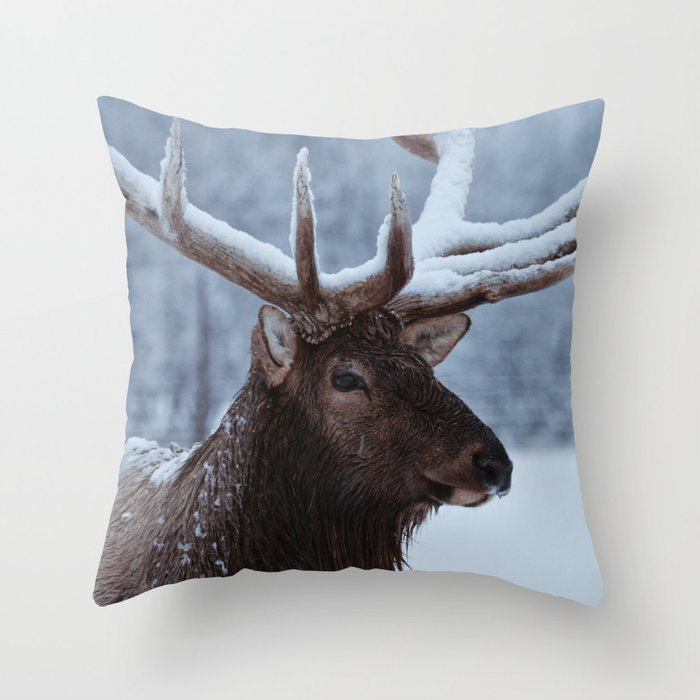 Antlers In Snow Throw Pillow