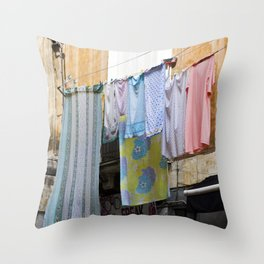 LAUNDRY DAY - Catania - Sicily Throw Pillow