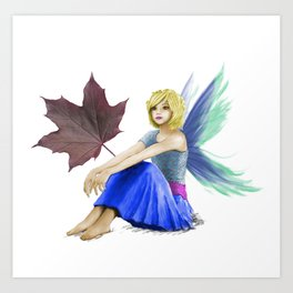 Crimson King Maple Tree Fairy With A Leaf Art Print