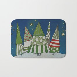 Night in the Winter Forest Bath Mat
