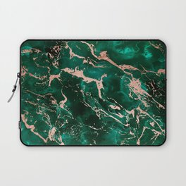 Modern rose gold marble green emerald watercolor pattern Laptop Sleeve