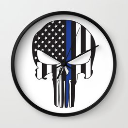 Punisher Skull American Flag Thin Blue Line Wall Clock