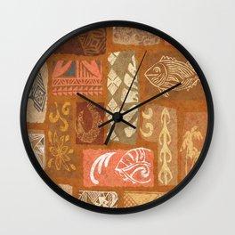 Vintage Hawaiian Tapa Collage Wall Clock