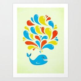 Colorful Swirls Happy Cartoon Whale Art Print