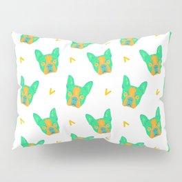 boston terrier - wht pattern Pillow Sham