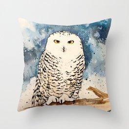 Blue Snowy Throw Pillow