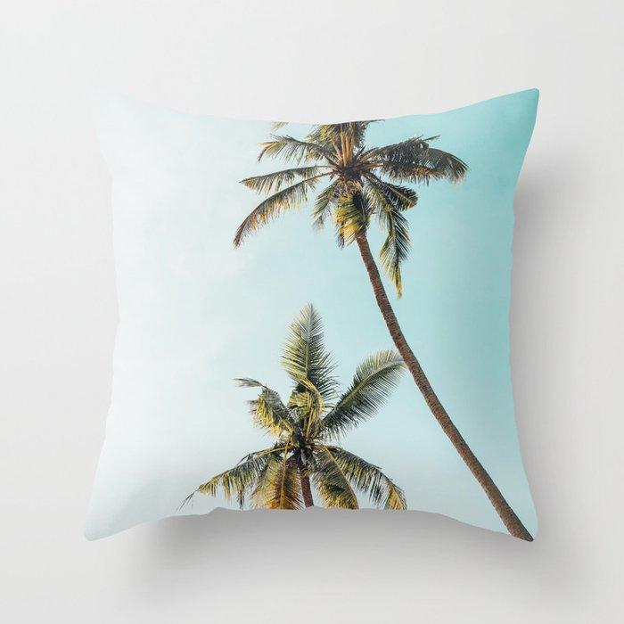 Palm Tree Beach Summer Throw Pillow