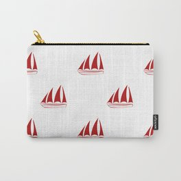 Red Sailboat Pattern Carry-All Pouch