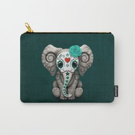 Teal Blue Day of the Dead Sugar Skull Baby Elephant Carry-All Pouch