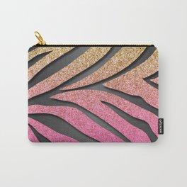 Gold Glitter & Pink Zebra Stripes on Dark Metallic Carry-All Pouch