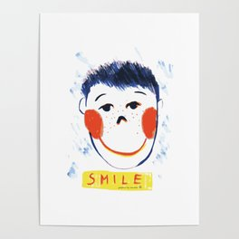 Face smile drawing Poster
