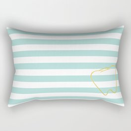 Aqua Stripes with Gold Tooth Rectangular Pillow