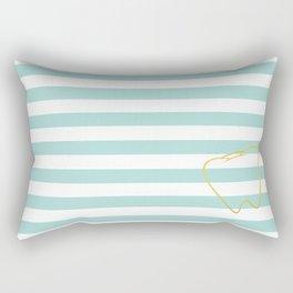 Aqua Stripes with Gold Tooth Rectangular Pillow