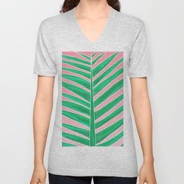 Modern green tropical palm tree leaf watercolor on pink Unisex V-Neck