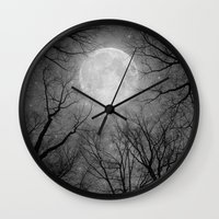 tolkien Wall Clocks featuring May It Be A Light (Dark Forest Moon) by soaring anchor designs