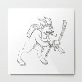 Krampus With Stick Doodle Art Metal Print