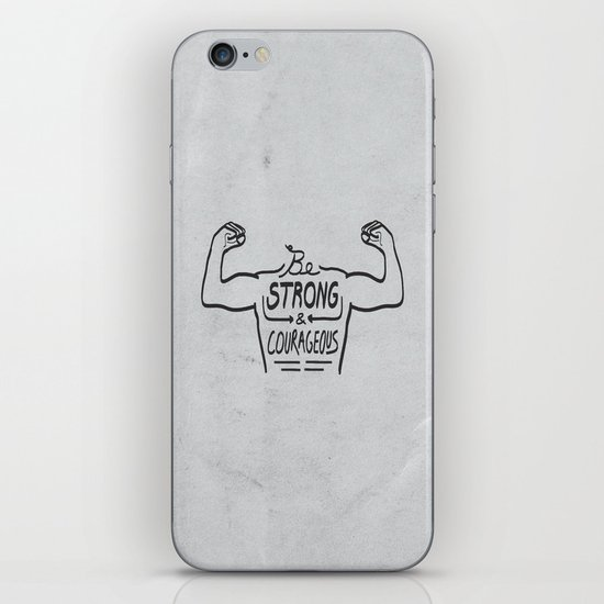 Be Strong & Courageous (Black Version) iPhone & iPod Skin