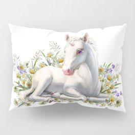 Baby unicorn lies in flowers Pillow Sham