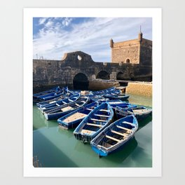 Blue Boats, Essaouira, Morocco Art Print