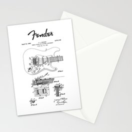 Guitar Tremolo Patent Black Stationery Cards