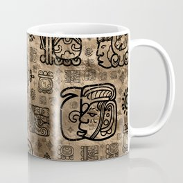 Mayan glyphs and ornaments pattern -black on gold Coffee Mug