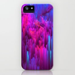 Outrun the Mist - Abstract Pixel Art iPhone Case