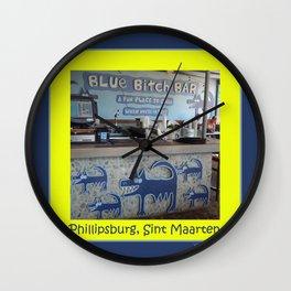 Blue Bitch Bar, St. Maartin Resort Travel Wall Clock