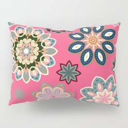 Flower retro pattern in vector. Blue gray flowers on pink background. Pillow Sham