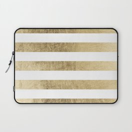 Elegant stylish trendy faux gold modern stripe Laptop Sleeve