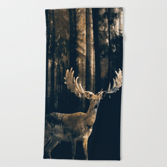 Deer in the dark forest Beach Towel