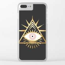 gold foil triangle evil eye Clear iPhone Case
