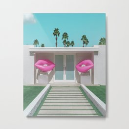 Modern Palm Springs Home with Pink Lip Floaties at the Door Metal Print
